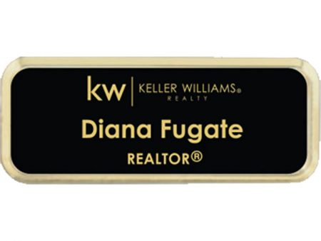 JustClickKW - Keller Williams - Black with Gold Lettering Name Badge - kw5-nb